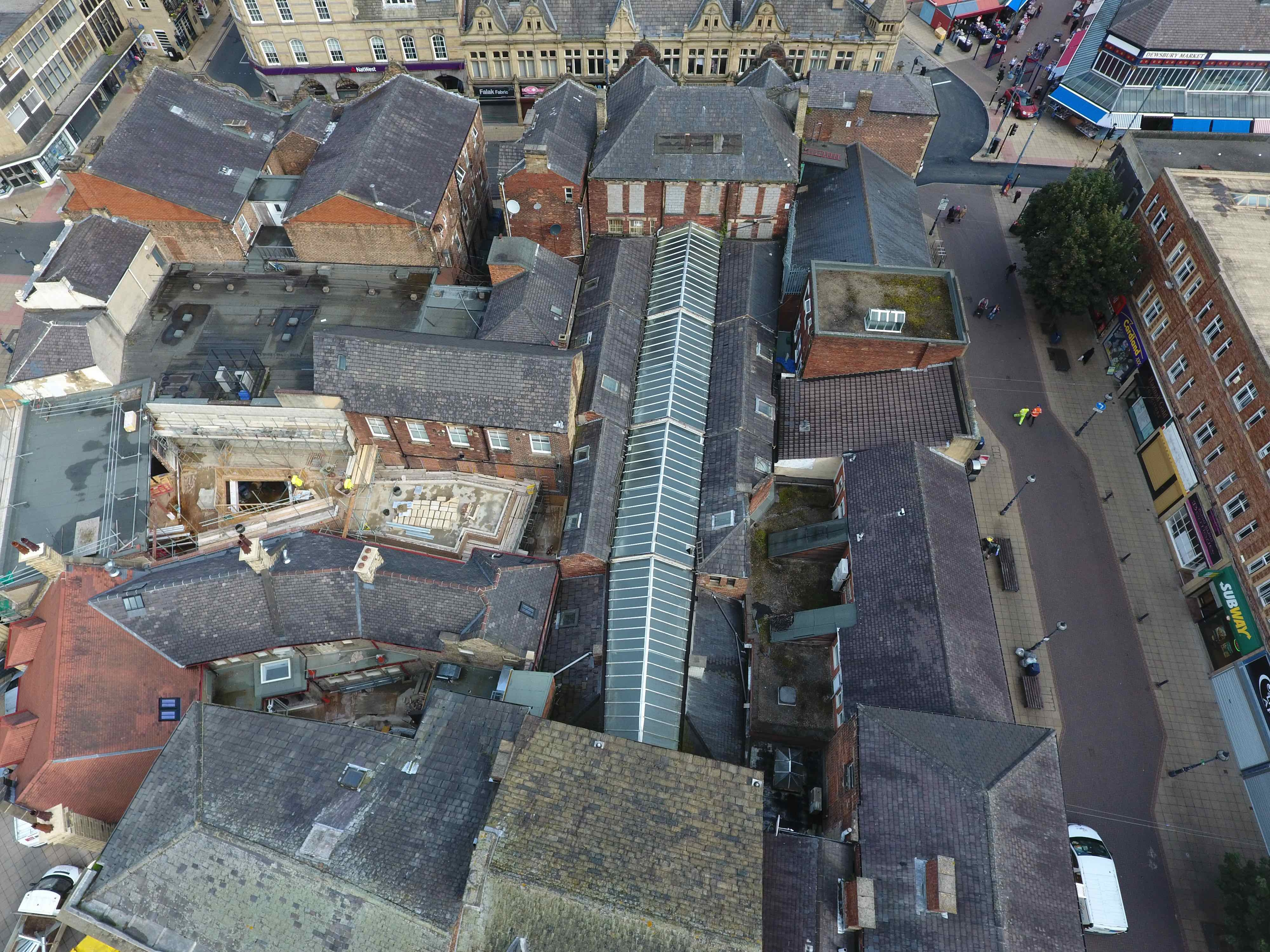View of Dewsbury Arcade from the air